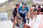 Miguel Angel Lopez Moreno (COL) Movistar Team crosses the finish line in 5th place ahead of Adam Yates (GBR) Ineos Grenadiers at the end of Stage 9 of La Vuelta d'Espana 2021, running 188km from Puerto Lumbreras to Alto de Velefique, Spain. 22nd August 2021.     <br /> Picture: Luis Angel Gomez/Photogomezsport   Cyclefile<br /> <br /> All photos usage must carry mandatory copyright credit (© Cyclefile   Luis Angel Gomez/Photogomezsport)