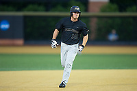 Ben Breazeale (39) of the Wake Forest Demon Deacons rounds the bases after hitting a home run against the West Virginia Mountaineers in Game Six of the Winston-Salem Regional in the 2017 College World Series at David F. Couch Ballpark on June 4, 2017 in Winston-Salem, North Carolina.  The Demon Deacons defeated the Mountaineers 12-8.  (Brian Westerholt/Four Seam Images)
