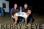 Liam and Shane Dowling with their dog Ballymac Anton the 2019 Irish St Leger champion who won in Limerick last Saturday night.