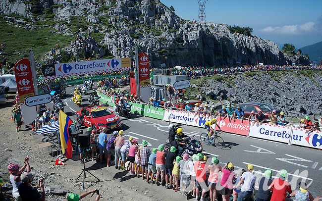 Chris Froome (GBR/SKY) solo up the Col de Soudet (HC/1610m/15.3km/7.4%) as the race/stage-leader 300m from the finish. <br /> He already delivers a knock-out blow to his closest competitors in this first mountain stage.<br /> <br /> stage 10: Tarbes - La Pierre-Saint-Martin (167km)