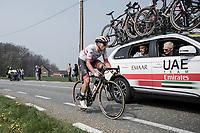 Jasper Philipsen (BEL/UAE Team Emirates) assisted by team car. <br /> <br /> <br /> 103rd Ronde van Vlaanderen 2019<br /> One day race from Antwerp to Oudenaarde (BEL/270km)<br /> <br /> ©kramon