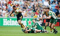 Photo: Richard Lane/Richard Lane Photography. Wasps v London Irish. Aviva Premiership. 07/05/2016. Wasps' Siale Piutau attacks.