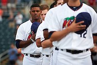 Fort Myers Miracle Brian Navarreto (23) during the national anthem before a game against the Brevard County Manatees on April 13, 2016 at Hammond Stadium in Fort Myers, Florida.  Fort Myers defeated Brevard County 3-0.  (Mike Janes/Four Seam Images)