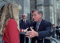 Serge Menard<br />  aux<br /> Funerailles de Jean Drapeau, le 13 aout 1999<br /> a la Basilique Notre-Dame.<br /> <br /> PHOTO :  Agence Quebec Presse
