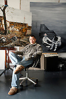 Chinese artist Zhou Zixi in his studio and home in Shanghai, China on Tuesday, 13 March 2007.