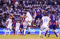 SAN PEDRO SULA, HONDURAS - SEPTEMBER 8: Ricardo Pepi #14 of the United States scores a goal and celebrates during a game between Honduras and USMNT at Estadio Olímpico Metropolitano on September 8, 2021 in San Pedro Sula, Honduras.