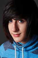 Model released  photos of a 17 year old male emo teenager<br /> <br /> COPYRIGHT : 2015, Pierre Roussel