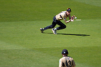 NZ's Mitch Santner catches Aaron Finch during the 5th international men's T20 cricket match between the New Zealand Black Caps and Australia at Sky Stadium in Wellington, New Zealand on Sunday, 7 March 2021. Photo: Dave Lintott / lintottphoto.co.nz