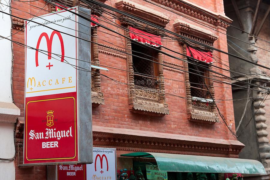 Nepal, Patan.  Knock-off Imitation of McDonald's Fast-food Emblem.