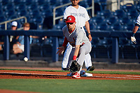 Palm Beach Cardinals first baseman Stefan Trosclair (28) stretches to receive a throw during a game against the Charlotte Stone Crabs on April 20, 2018 at Charlotte Sports Park in Port Charlotte, Florida.  Charlotte defeated Palm Beach 4-3.  (Mike Janes/Four Seam Images)