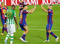 7th November 2020; Camp Nou, Barcelona, Catalonia, Spain; La Liga Football, Barcelona versus Real Betis;  Pedri (Pedro González López) celebrates after scoring in the 90th minute for Barca