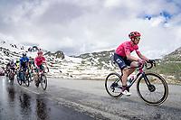 Michael Valgren (DEN/EF Education - Nippo) up the snowy Cormet de Roselend (2cat/1968m/5.7km@6.5%)<br /> <br /> 73rd Critérium du Dauphiné 2021 (2.UWT)<br /> Stage 7 from Saint-Martin-le-Vinoux to La Plagne (171km)<br /> <br /> ©kramon