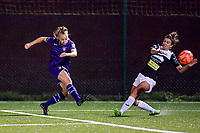 Anderlecht forward Sarah Wijnants (L) gives a cross and Aalst's midfielder Justine Blave (R) tries to block during a female soccer game between RSC Anderlecht Dames and Eendracht Aalst Ladies  on the fourth matchday of the 2020 - 2021 season of Belgian Womens Super League , Tuesday 13 th of October 2020  in ANDERLECHT , Belgium . PHOTO SPORTPIX.BE | SPP | STIJN AUDOOREN