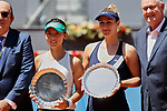 Yifan Xu (L) and Gabriela Dabrowski (R) during the Mutua Madrid Open Masters match on day eight at Caja Magica in Madrid, Spain.May 11, 2019. (ALTERPHOTOS/A. Perez Meca)