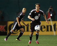 Josh Wolfe (16) and Charlie Davies (9) of D.C. United  during an MLS match against the Los Angeles Galaxy at RFK Stadium, on April 9 2011, in Washington D.C. The game ended in a 1-1 tie.