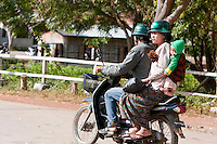 , Kalaw.  Family on Motorbike, Helmets on Parents.