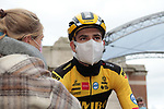 Wout Van Aert (BEL) Team Jumbo-Visma with his partner before the start of the 82nd edition of Gent-Wevelgem 2020 running 232km from Ypres to Wevelgem, Belgium. 11th October 2020.  <br /> Picture: Colin Flockton   Cyclefile<br /> <br /> All photos usage must carry mandatory copyright credit (© Cyclefile   Colin Flockton)