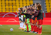 both team line ups pictured ahead of a friendly female soccer game between the national teams of Germany and  Belgium , called the Red Flames  in a pre - bid tournament called Three Nations One Goal with the national teams from Belgium , The Netherlands and Germany towards a bid for the hosting of the 2027 FIFA Women's World Cup , on Sunday 21 st of February 2021  in Aachen , Germany . PHOTO SPORTPIX.BE   SPP   STIJN AUDOOREN