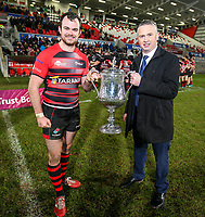 Friday 8th February 2019 | First Trust Ulster Senior Cup Final<br /> <br /> Armagh captain Christopher Colvin and James Beattie representing the First Trust Bank after the First Trust Ulster Senior Cup Final between Armagh and Ballymena at Kingspan Stadium, Ravenhill Park, Belfast, Northern Ireland. Photo by John Dickson / DICKSONDIGITAL