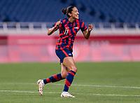 SAITAMA, JAPAN - JULY 24: Christen Press #11 of the USWNT celebrates her goal during a game between New Zealand and USWNT at Saitama Stadium on July 24, 2021 in Saitama, Japan.