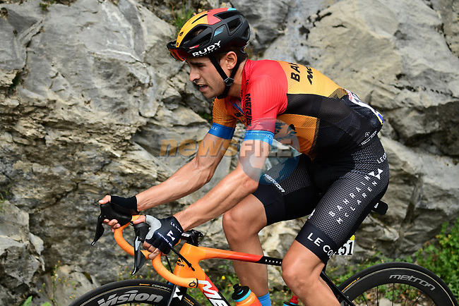 Mikel Landa (ESP) Bahrain-McLaren loses contact on the Col de la Colombière during Stage 5 of Criterium du Dauphine 2020, running 153.5km from Megeve to Megeve, France. 16th August 2020.<br /> Picture: ASO/Alex Broadway   Cyclefile<br /> All photos usage must carry mandatory copyright credit (© Cyclefile   ASO/Alex Broadway)