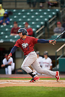 Lehigh Valley IronPigs shortstop Chase d'Arnaud (8) at bat during a game against the Rochester Red Wings on May 15, 2015 at Frontier Field in Rochester, New York.  Rochester defeated Lehigh Valley 5-4.  (Mike Janes/Four Seam Images)