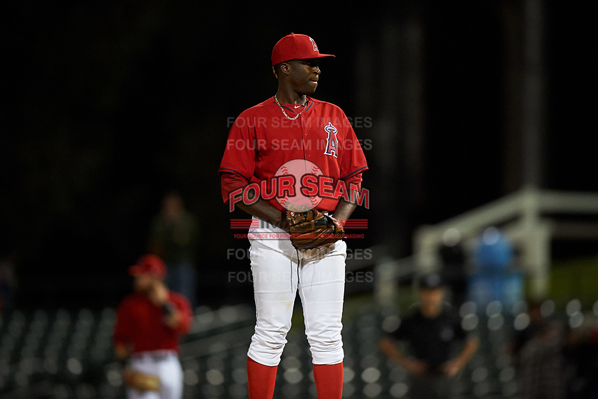 Inland Empire 66ers relief pitcher Eduardo Rivera (36) looks to his catcher for the sign during a California League game against the Lancaster JetHawks at San Manuel Stadium on May 18, 2018 in San Bernardino, California. Lancaster defeated Inland Empire 5-3. (Zachary Lucy/Four Seam Images)