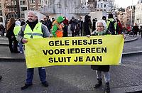 Nederland - Amsterdam - 2019. Gele Hesjes protest op de Dam.  Foto mag niet in schadelijke context voor de gefotografeerde personen worden gepubliceerd.   Foto Berlinda van Dam / Hollandse Hoogte