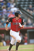 Josh Jung (15) of the Hickory Crawdads runs to first base during a game against the Kannapolis Intimidators at L.P. Frans Stadium on July 16, 2019 in Hickory, North Carolina. The Crawdads defeated the Intimidators 5-4. (Tracy Proffitt/Four Seam Images)