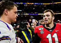 ATLANTA, GA - DECEMBER 7: Joe Burrow #9 of the LSU Tigers and Jake Fromm #11 of the Georgia Bulldogs speak after the game during a game between Georgia Bulldogs and LSU Tigers at Mercedes Benz Stadium on December 7, 2019 in Atlanta, Georgia.