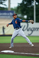 Connecticut Tigers third baseman Jose King (56) throws to first base during a NY-Penn League game against the Auburn Doubledays on July 12, 2019 at Falcon Park in Auburn, New York.  Auburn defeated Connecticut 7-5.  (Mike Janes/Four Seam Images)