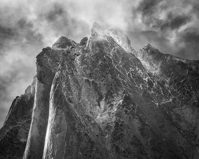 """Monolith peak photographed as clouds cleared following a long storm.<br /> <br /> """"May your trails be crooked, winding, lonesome, dangerous, leading to the most amazing view. May your mountains rise into and above the clouds.""""  ~Edward Abbey"""