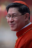 Cardinal Luis Antonio Gokim Tagle.Pope Francis leads a consistory for the creation of five new cardinals  at St Peter's basilica in Vatican.  from countries  : El Salvador, Laos, Mali,Sweden and Spain.<br /> Cardinal Gregorio Rosa Chavez from Salvador;Cardinal Louis-Marie Ling Mangkhanekhoun from Laos;Cardinal Anders Arborelius from Sweden;Cardinal Jean Zerbo from Mali;Cardinal Juan José Omella of Spainon June 28, 2017