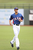 Omarlin Lopez #35 of the AZL Rangers during a game against the AZL Cubs at Surprise Stadium on July 6, 2014 in Surprise, Arizona. AZL Rangers defeated the AZL Cubs, 7-5. (Larry Goren/Four Seam Images)