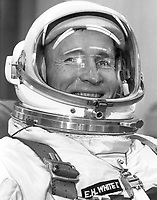 June 3rd, 1965 - File Photo - <br /> Astronaut Edward H. White II, pilot for NASA's Gemini IV mission is shown in the crews ready room at Launch Complex 16, suited and ready to ride the van to Launch Complex 19 for insertion in the spacecraft. The Gemini IV flight was launched at 10:16 am EST on June 3, 1965. The objective of the Gemini IV mission was to evaluate and test the effects of four days in space on the crew, equipment, and control systems. White successfully accomplished the first U.S. spacewalk during the Gemini IV mission.