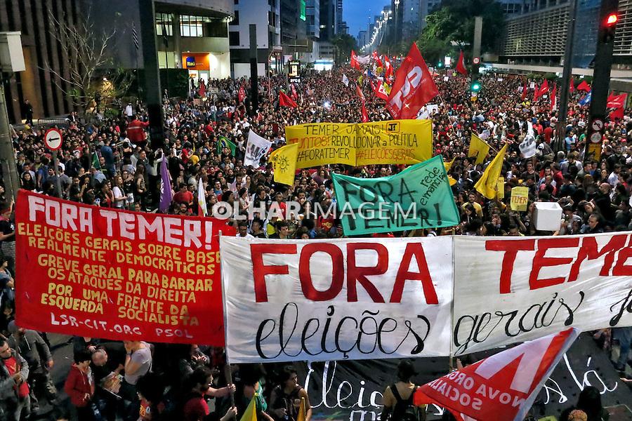 Passeata Marcha dos Cem Mil no ato Fora Temer. Avenida Paulista. Sao Paulo. 2016. Foto de Marcia Minillo.