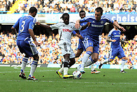 Pictured: Nathan Dyer of Swansea (C) is challenged by John terry of Chelsea (R) and marked by Ashley Cole (L). Saturday 17 September 2011<br />