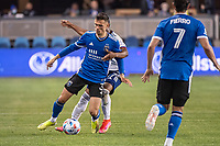 SAN JOSE, CA - MAY 01: Paul Marie #3 of the San Jose Earthquakes protects the ball during a game between San Jose Earthquakes and D.C. United at PayPal Park on May 01, 2021 in San Jose, California.