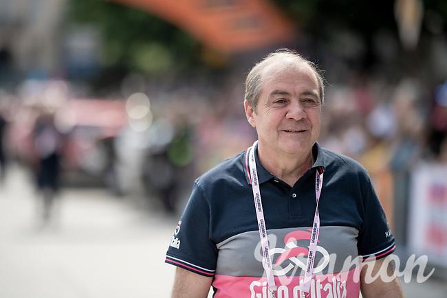 Giro boss Mauro Vegni at the race start in Pinerelo<br /> <br /> Stage 13: Pinerolo to Ceresole Reale/Lago Serrù (196km)<br /> 102nd Giro d'Italia 2019<br /> <br /> ©kramon