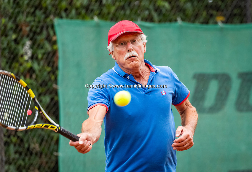 Hilversum, The Netherlands,  August 18, 2020,  Tulip Tennis Center, NKS, National Senior Championships, Men's single 70+ ,   Onno van der Spoel (NED) <br /> Photo: www.tennisimages.com/Henk Koster