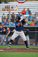 Connecticut Tigers Gresuan Silverio (27) at bat during a NY-Penn League game against the Auburn Doubledays on July 12, 2019 at Falcon Park in Auburn, New York.  Auburn defeated Connecticut 7-5.  (Mike Janes/Four Seam Images)