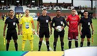 COTA-COLOMBIA, 08-02-2020: Fortaleza CEIF y Itagüi Leones F.C., durante partido por la fecha 2 del Torneo BetPlay DIMAYOR I 2020 en el estadio Municipal de Cota de la ciudad de Cota. / Fortaleza CEIF and Itagüi Leones F.C., during a match for the 2nd date of the BetPlay DIMAYOR I 2020 tournament at the Municipal de Cota stadium in Cota city. / Photos: VizzorImage / Juan Torres / Cont.