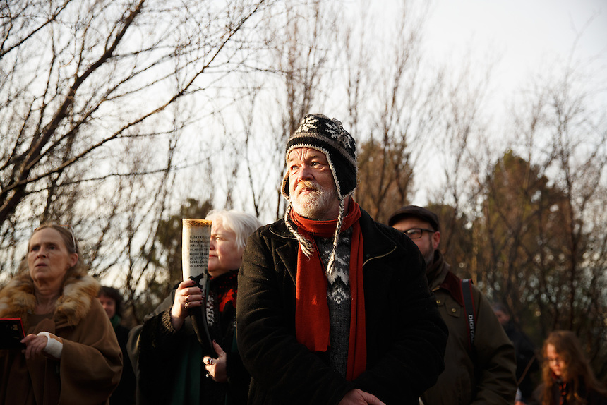 Hilmar Örn Hilmarsson during the solar eclipse in Reykjavik, Iceland. He is the high priest (or gothi) of the neo-pagan Asatru association.