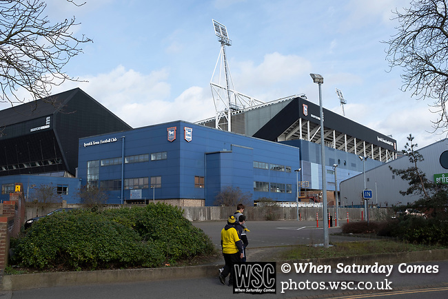 Ipswich Town 0, Oxford United 1, 22/02/2020. Portman Road, SkyBet League One. Three visiting fans making their way towards the stadium before Ipswich Town play Oxford United in a SkyBet League One fixture at Portman Road. Both teams were in contention for promotion as the season entered its final months. The visitors won the match 1-0 through a 44th-minute Matty Taylor goal, watched by a crowd of 19,363. Photo by Colin McPherson.