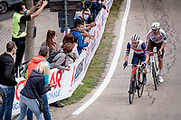 Giulio Ciccone (ITA/Trek - Segafredo) & Tony Gallopin (FRA/AG2R Citroën) trying to cross the gap to the breakaway group up the 15% climb in Guarene, 15 kilometers from the finish <br /> <br /> 104th Giro d'Italia 2021 (2.UWT)<br /> Stage 3 from Biella to Canale (190km)<br /> <br /> ©kramon