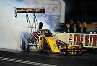 Oct. 31, 2008; Las Vegas, NV, USA: NHRA top fuel dragster driver Bob Vandergriff Jr does a burnout during qualifying for the Las Vegas Nationals at The Strip in Las Vegas. Mandatory Credit: Mark J. Rebilas-