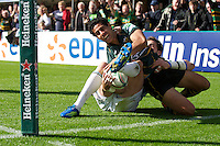 Ken Pisi of Northampton Saints has his try disallowed during the Heineken Cup match between Northampton Saints and Glasgow Warriors  at Franklin's Gardens on Sunday 14th October 2012 (Photo by Rob Munro)