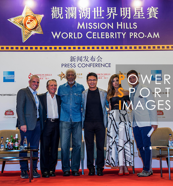 Mission Hills Group Chairman Dr Ken Chu, Vice Chairman Tenniel Chu, Morgan Freeman, Jessica Alba, Paul McGinley and Gary Player attend a press conference during the Mission Hills Celebrity Pro-Am on 25 October 2014, in Haikou, China. Photo by Aitor Alcalde / Power Sport Images