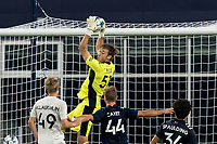 FOXBOROUGH, MA - JULY 23: Joe Rice #51 of New England Revolution II makes a save during a game between Toronto FC II and New England Revolution II at Gillette Stadium on July 23, 2021 in Foxborough, Massachusetts.