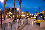 Mosley Square Glenelg at dusk with Tram.